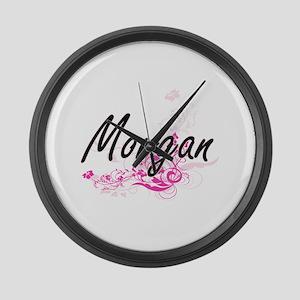 Morgan Artistic Name Design with Large Wall Clock