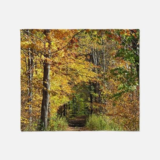 Autumn Trail Scenery Throw Blanket