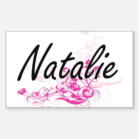 Natalie Artistic Name Design with Flowers Decal