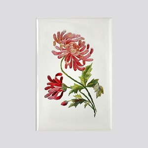 Embroidered Pink Peonies Rectangle Magnet