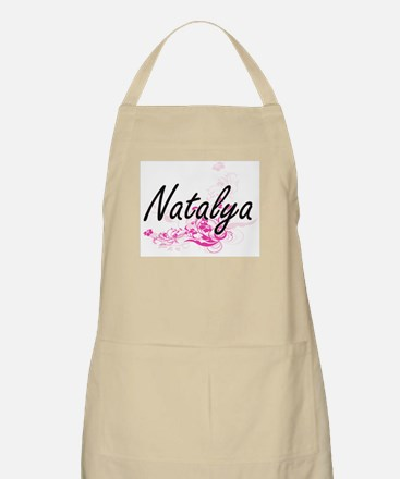 Natalya Artistic Name Design with Flowers Apron