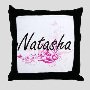 Natasha Artistic Name Design with Flo Throw Pillow