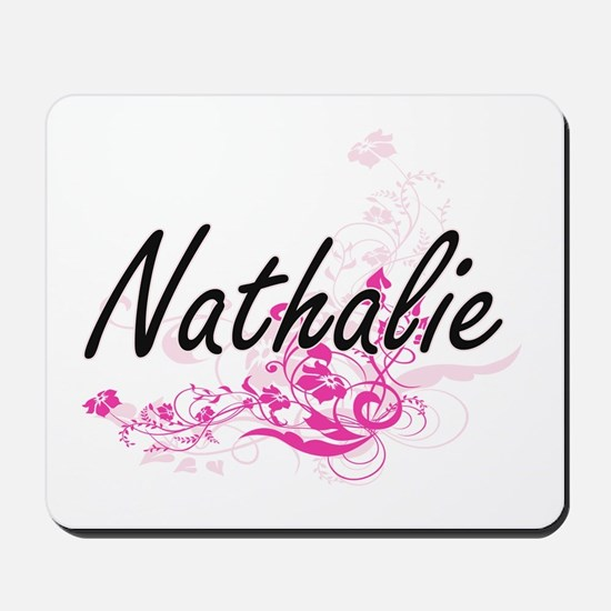 Nathalie Artistic Name Design with Flowe Mousepad