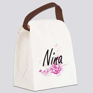 Nina Artistic Name Design with Fl Canvas Lunch Bag