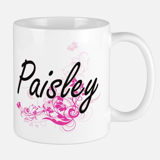 Paisley Artistic Name Design with Flowe Mugs