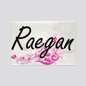 Raegan Artistic Name Design with Flowers Magnets