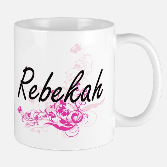 Rebekah Artistic Name Design with Flowers Mugs