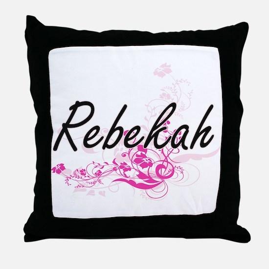 Rebekah Artistic Name Design with Flo Throw Pillow