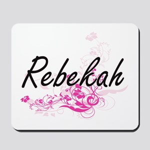 Rebekah Artistic Name Design with Flower Mousepad