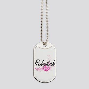 Rebekah Artistic Name Design with Flowers Dog Tags