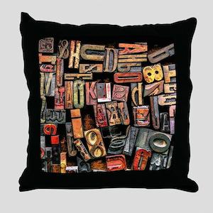 Wood Type Throw Pillow