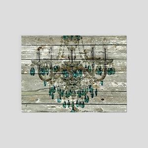 Rustic barn wood chandelier 5'x7'Area Rug