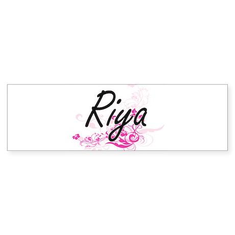 Riya Artistic Name Design with Flow Bumper Bumper Sticker