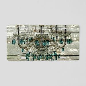 Rustic barn wood chandelie Aluminum License Plate