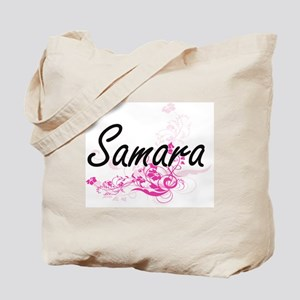Samara Artistic Name Design with Flowers Tote Bag
