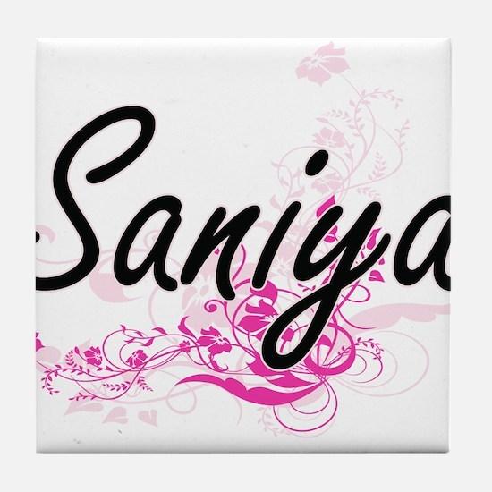 Saniya Artistic Name Design with Flow Tile Coaster
