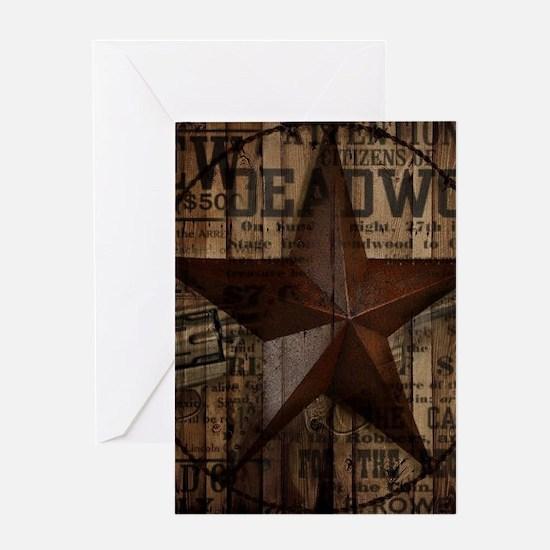 primitive texas lone star cowboy Greeting Cards
