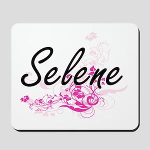 Selene Artistic Name Design with Flowers Mousepad