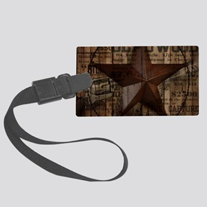 primitive texas lone star cowbo Large Luggage Tag