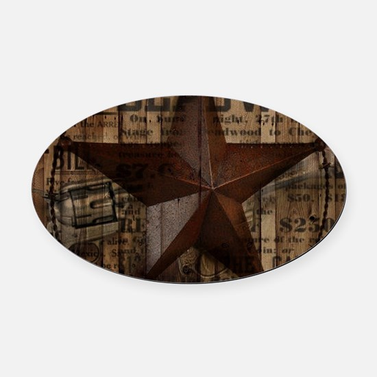 primitive texas lone star cowboy Oval Car Magnet