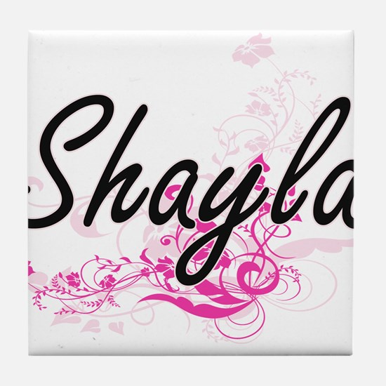 Shayla Artistic Name Design with Flow Tile Coaster