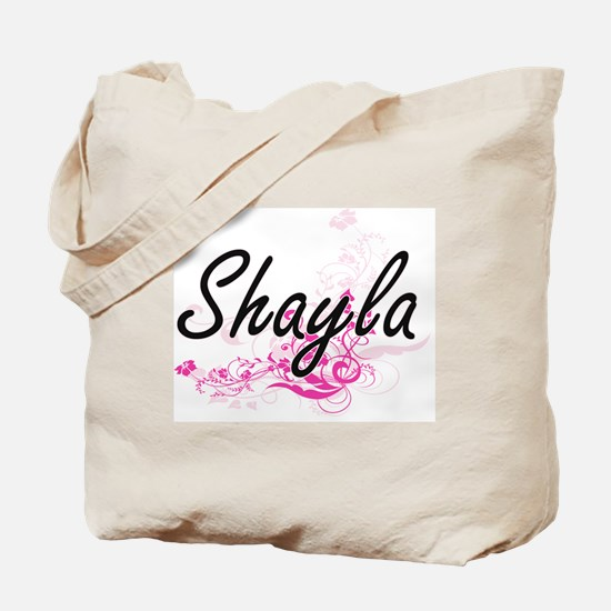 Shayla Artistic Name Design with Flowers Tote Bag