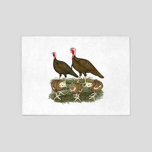 Turkeys Chocolate Family 5'x7'Area Rug