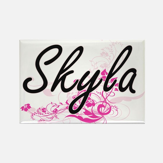 Skyla Artistic Name Design with Flowers Magnets