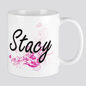 Stacy Artistic Name Design with Flowers Mugs