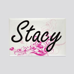 Stacy Artistic Name Design with Flowers Magnets