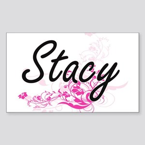 Stacy Artistic Name Design with Flowers Sticker