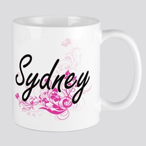 Sydney Artistic Name Design with Flowers Mugs