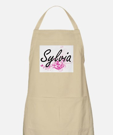 Sylvia Artistic Name Design with Flowers Apron