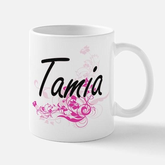 Tamia Artistic Name Design with Flowers Mugs