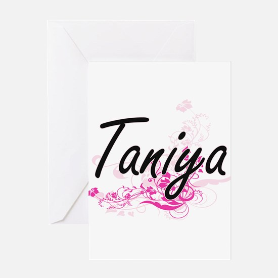 Taniya Artistic Name Design with Fl Greeting Cards