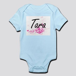 Tara Artistic Name Design with Flowers Body Suit