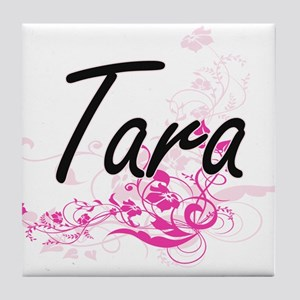Tara Artistic Name Design with Flower Tile Coaster