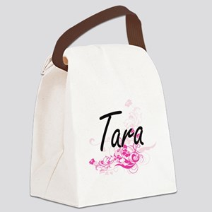 Tara Artistic Name Design with Fl Canvas Lunch Bag