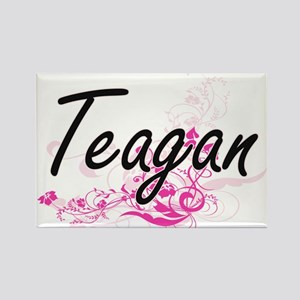 Teagan Artistic Name Design with Flowers Magnets