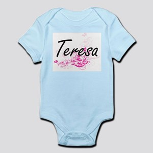 Teresa Artistic Name Design with Flowers Body Suit