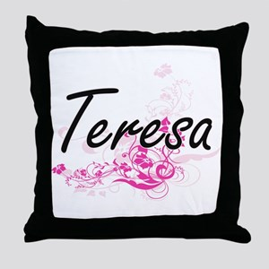 Teresa Artistic Name Design with Flow Throw Pillow