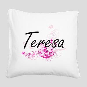 Teresa Artistic Name Design w Square Canvas Pillow