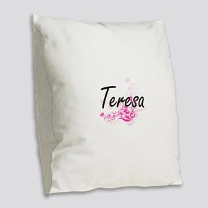 Teresa Artistic Name Design wi Burlap Throw Pillow