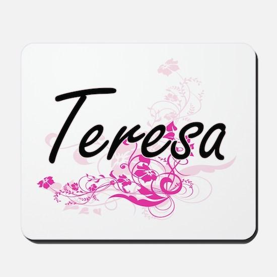 Teresa Artistic Name Design with Flowers Mousepad