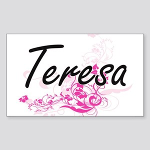 Teresa Artistic Name Design with Flowers Sticker