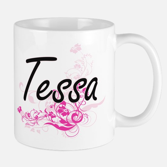 Tessa Artistic Name Design with Flowers Mugs