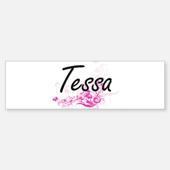 Tessa Artistic Name Design with Flo Bumper Car Car Sticker