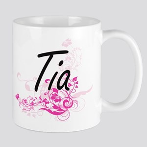 Tia Artistic Name Design with Flowers Mugs