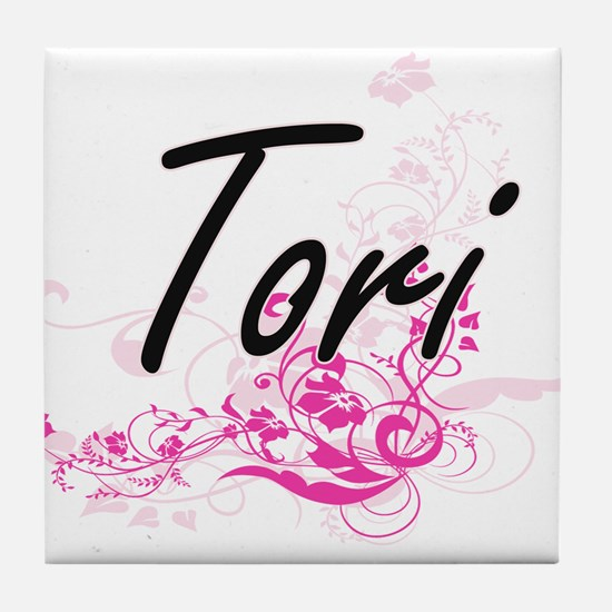 Tori Artistic Name Design with Flower Tile Coaster