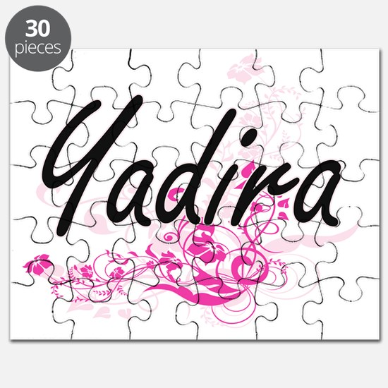 Yadira Artistic Name Design with Flowers Puzzle